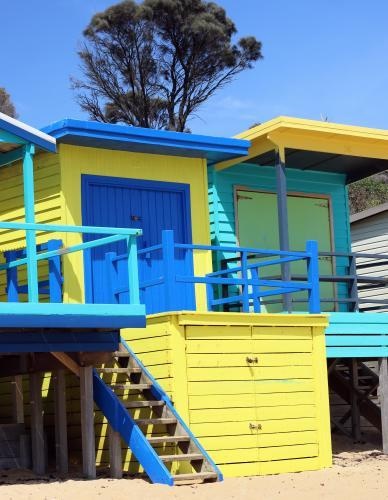 Fluro coloured blue and yellow beach boxes on a sunny day