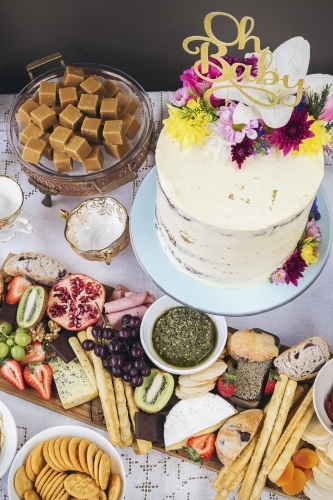 Food on a table at a Baby Shower Celebration