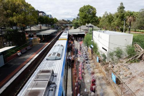 Football Crowd at Joilmont Station Getting off Train