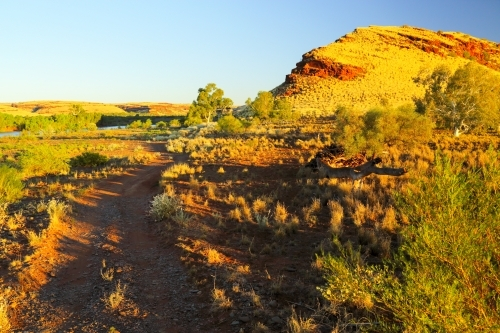 A dirt road leading to the Fortescue River in the Pilbara region