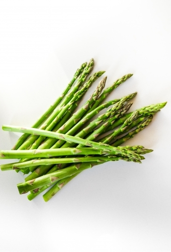 Fresh spring asparagus on the kitchen bench