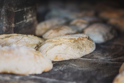 Freshly baked, wood fired bread loaves