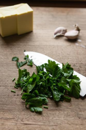 freshly chopped parsley with butter and garlic