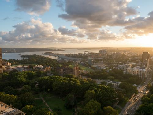 View over Hyde Park towards Sydney Harbour