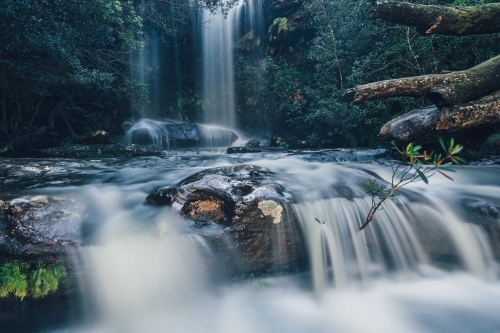 Full flowing waterfall and cascades in Royal National Park. National Falls