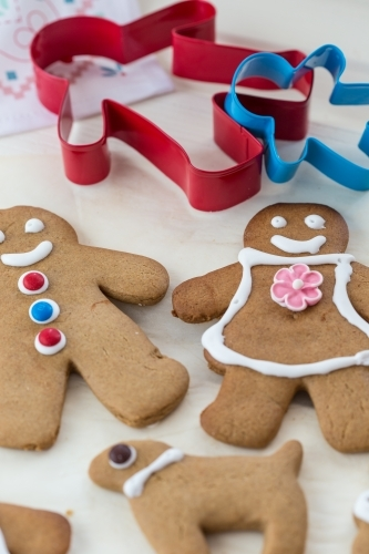 Ginger Bread man and woman with cookie cutters