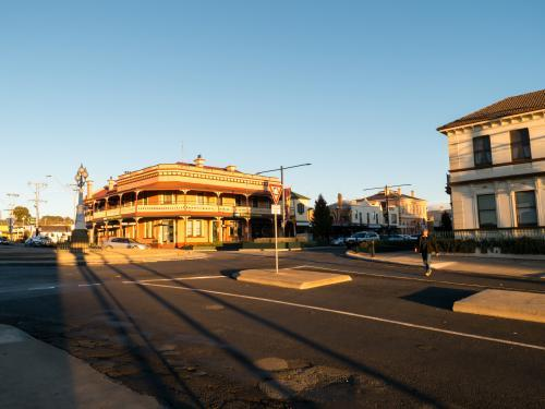 Great Central Hotel Glen Innes with long late afternoon shadows