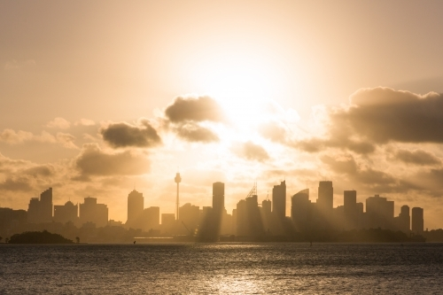 Golden sunset over Sydney CBD, Sydney Harbour