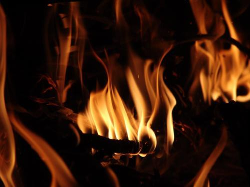 Close up of flames in a fire