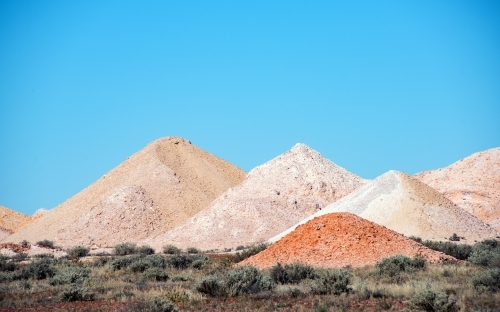 Grain mounds from opal mining in outback Australia.