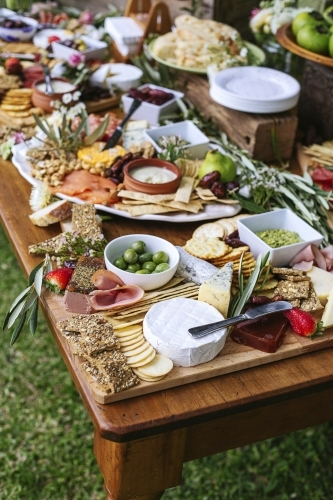 Grazing table, with antipasto platters