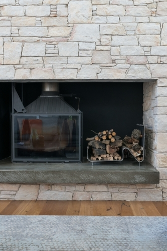 Hand crafted stone fireplace in luxury home