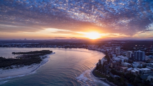 Aerial view of Happy Valley and Pumicestone Passage, at Caloundra on the Sunshine Coast.