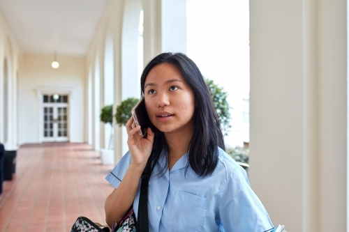 High School student making call on-campus