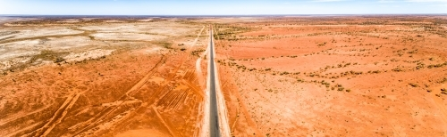 Highway cuts through western Queensland in drought.