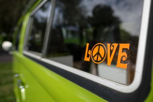 Hippy LOVE sticker on vintage campervan