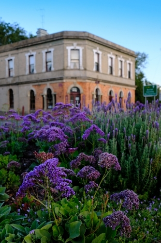 Historic building and flowers in Daylesford