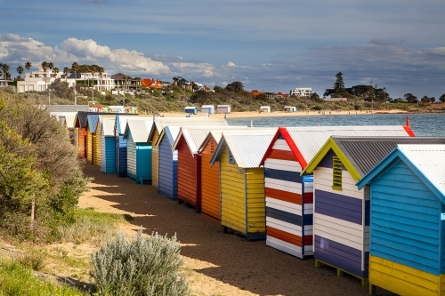 Iconic bathing boxes at Brighton Beach