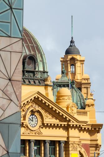 The building facade above Flinders Street Station