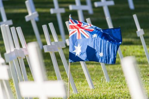 An Australian flag amongst a group of crosses