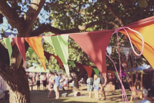 Colourful bunting at summer festival