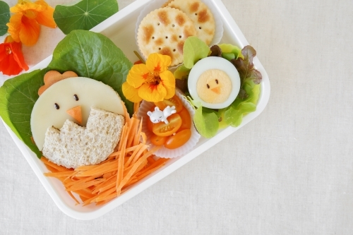 Easter chick lunch box, fun food art for kids