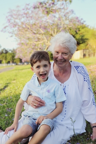 Grandson with grandmother in the park