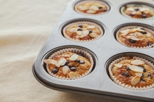 Healthy oatmeal cupcake in baking tray
