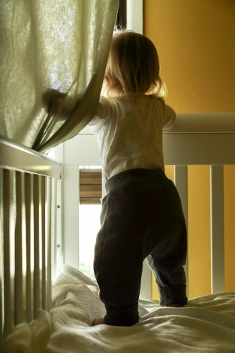 Infant girl standing in cot, looking out window.