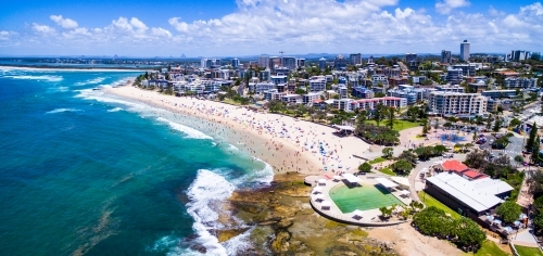 Aerial panoramic image of Kings Beach, Caloundra on the Sunshine Coast of Queensland.