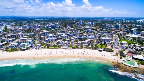 Aerial image of Kings Beach, Caloundra on the Sunshine Coast of Queensland.