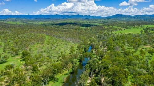 Kroombit Tops National Park summer landscape with fresh water creek and vibrant green vegetation