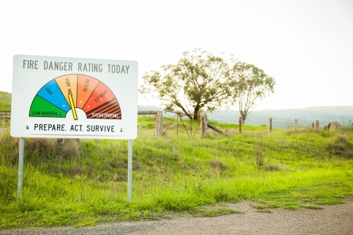 Fire danger rating today sign on very high prepare act survive