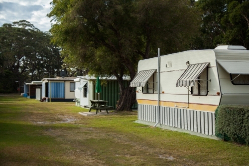 Cabin accommodation at seaside holiday park