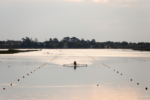 Rowers training on a lake in the evening