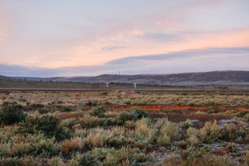 Landscape of outback during sunrise