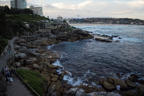 Landscape shot of coastal walk in eastern beaches - Bondi to Coogee walk