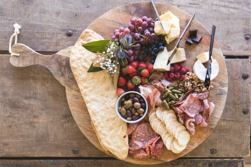 Large Rustic Grazing Platter on Cutting Board