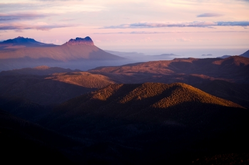 Last light touching the mountain ranges