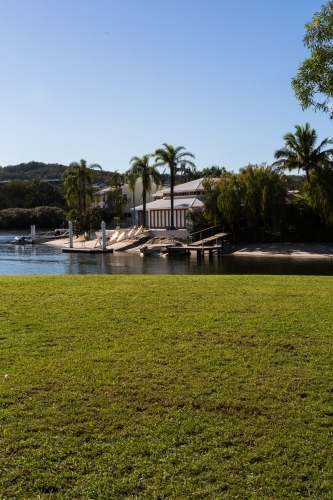 lawn and luxury waterfront property in Noosa