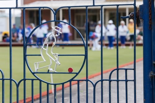 gate at entrance to a lawn bowls club