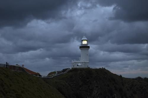 Lighthouse landscape with stormy skies