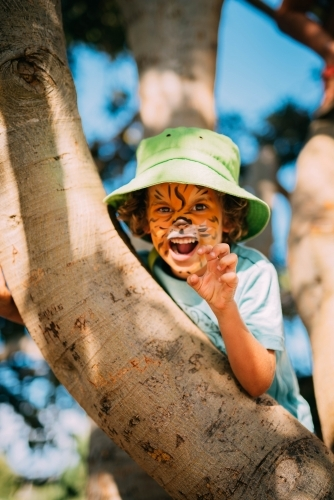Little boy in a tree with face paint