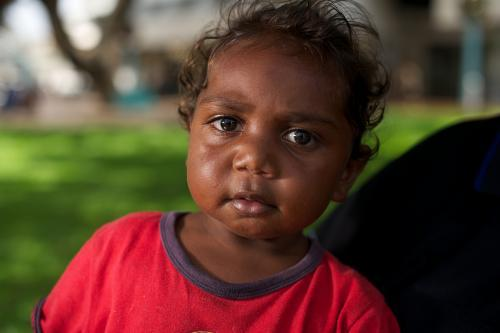 Little Indigenous Australian Girl with a Red Top