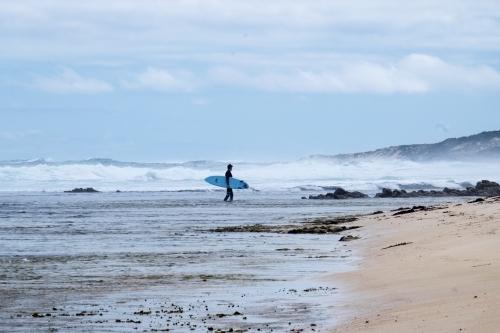 Long shot of Surfer walking in from surf over reef in remote rugged surfing location