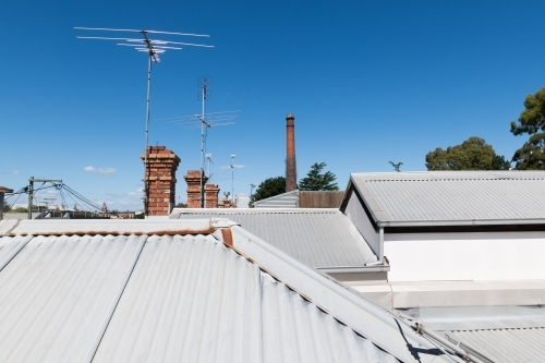 Looking across the rooftops of typical Victorian terrace housing in Fitzroy, Melbourne