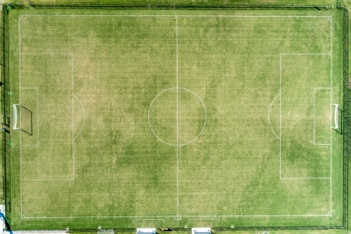 Looking down on a football field.