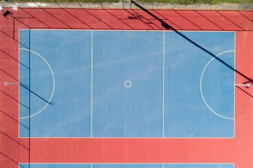 Looking down on a netball court.