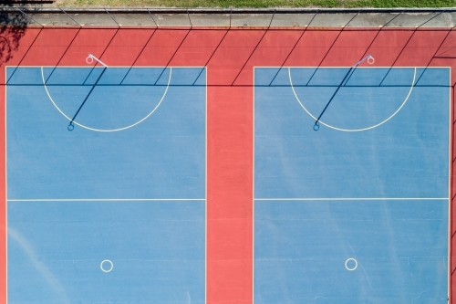Looking down on netball courts.
