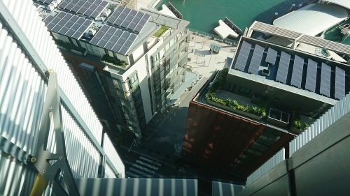 Looking down onto rooftops in Darling Harbour